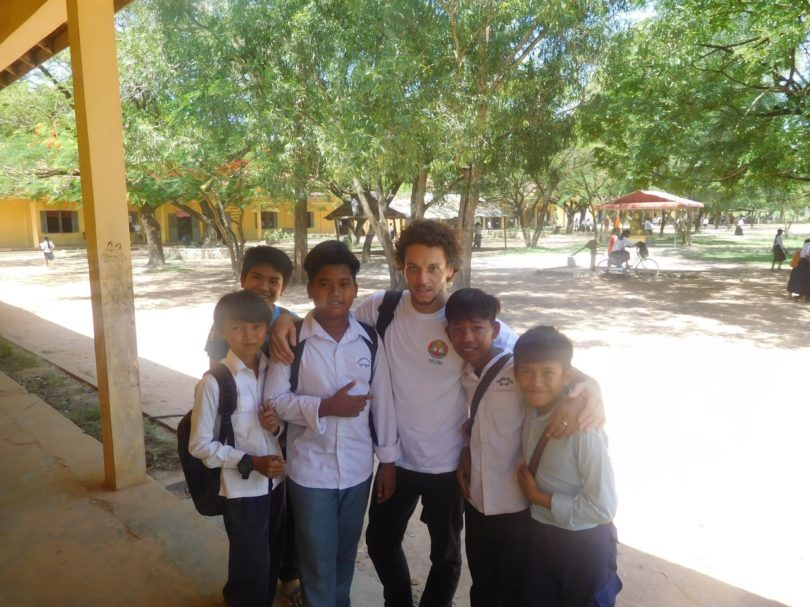 Alexis Sidney, from the University of Nantes, in between of survey and meeting the stakeholders, came across an elementary school students, here seen near Battambang province in Cambodia