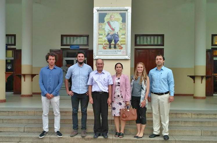 Interns of the University of Nantes and South Denmark University with the Rector of the National University of Management, Phnom Penh