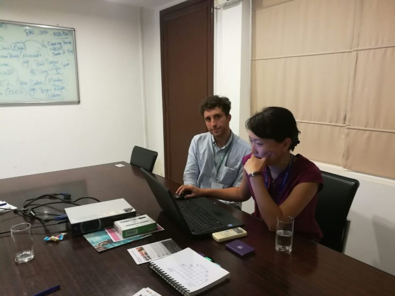 Marco, of the SDU, during the meeting with a representative of the United Nations Development Programme (UNDP) in Cambodia