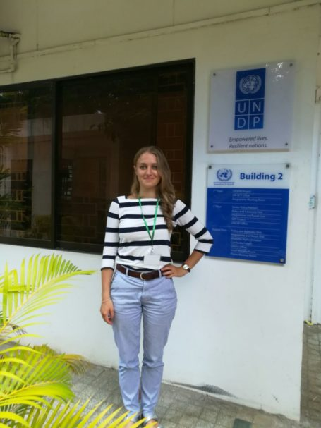 Clara, of the SDU, after the meeting with a representative of the United Nations Development Programme in Cambodia