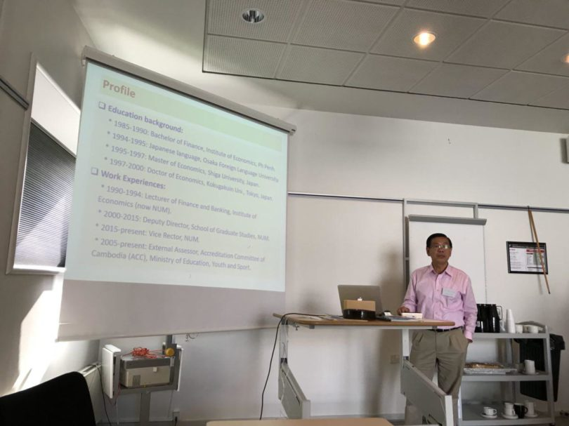Ly Sok Heng of the National University of Management, Cambodia led a discussion of the current development of Cambodian economics at the SDU Campus Esbjerg, Denmark
