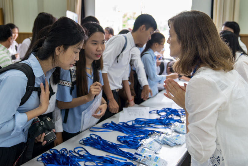 Morning registration handled by Irene, a Ph.D. candidate from University of Vigo Spain currently assist at the National University of Management, Cambodia for DOCKSIDE Project